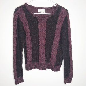 Kendall + Kylie maroon knit striped sweater sz XS